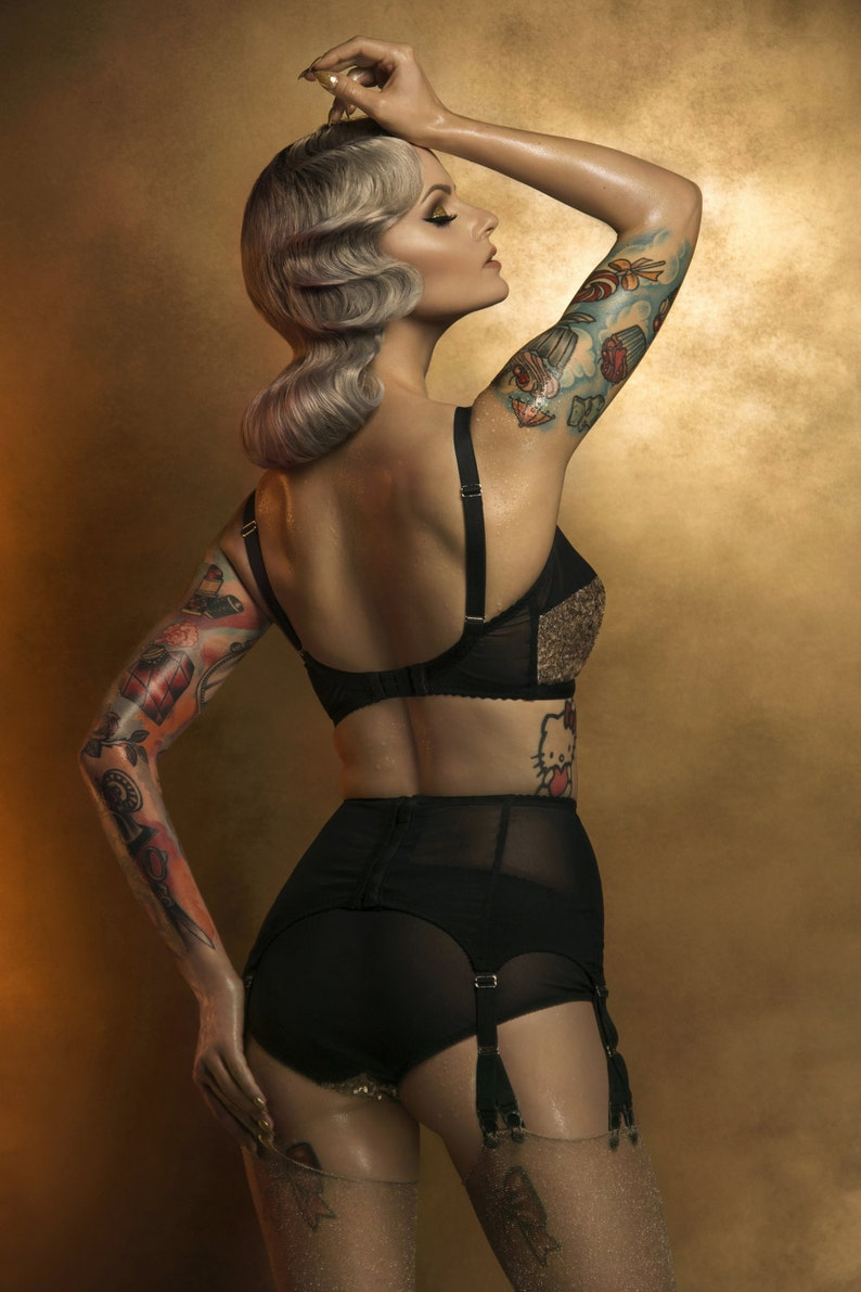 85530e6b2 Gold Sequin Knickers with black mesh Glittery Burlesque