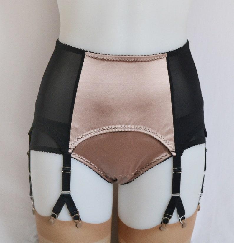 3d7f979c41d 6 Y-strap Suspender Belt Oyster Satin Vintage Retro Style