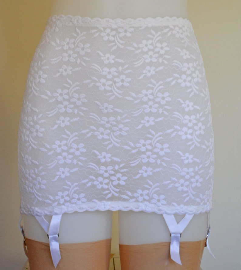 e8adf88e6 White Lace Open Bottom Roll On 6 strap Girdle. Vintage and