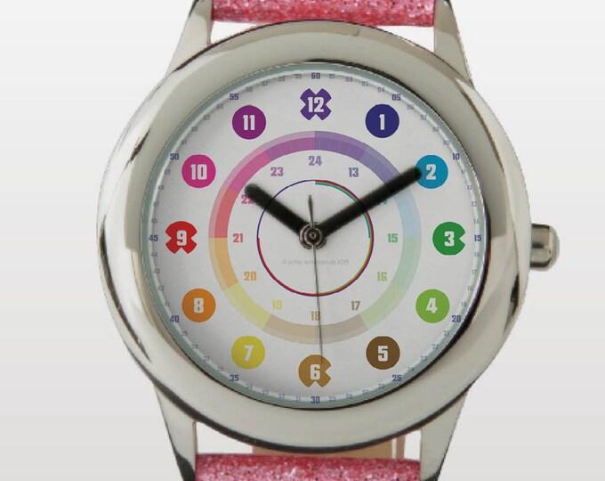 Armbanduhr EasyRead Lernuhr inkl. Download Tagesplaner, Übungsblatt, Basteluhr für Kinder ab 4 Jahren   Regenbogenziffern Weihnachtsgeschenk