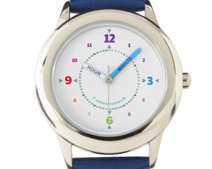 Armbanduhr EasyRead Lernuhr inkl. Download Tagesplaner, Übungsblatt, Basteluhr für Kinder ab 4 Jahren | Regenbogenziffern Weihnachtsgeschenk