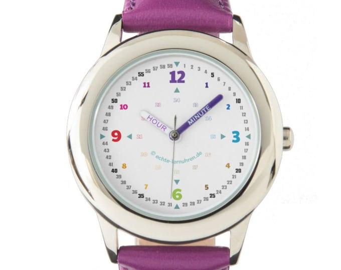 Armbanduhr EasyRead Lernuhr inkl. Download Tagesplaner, Übungsblatt, Basteluhr für Kinder ab 4 Jahren | Regenbogenziffern