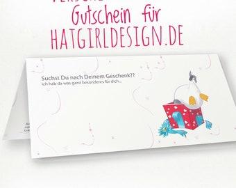 Voucher for shopping at Hatgirldesign.de | as a gift for Christmas