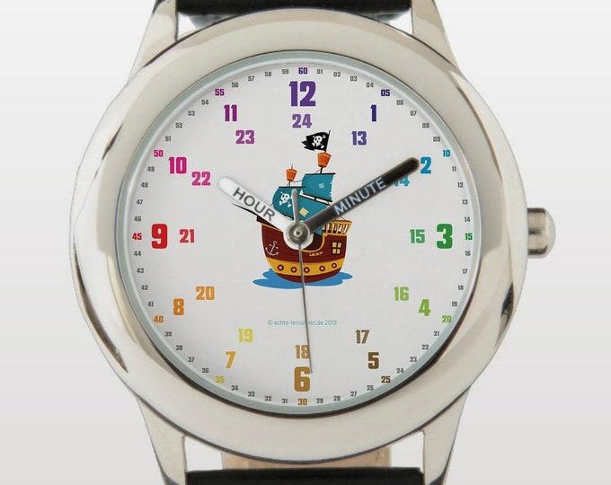 Armbanduhr EasyRead Lernuhr inkl. Download Tagesplaner, Übungsblatt, Basteluhr für Kinder ab 4 Jahren | Piratenschiff Weihnachtsgeschenk