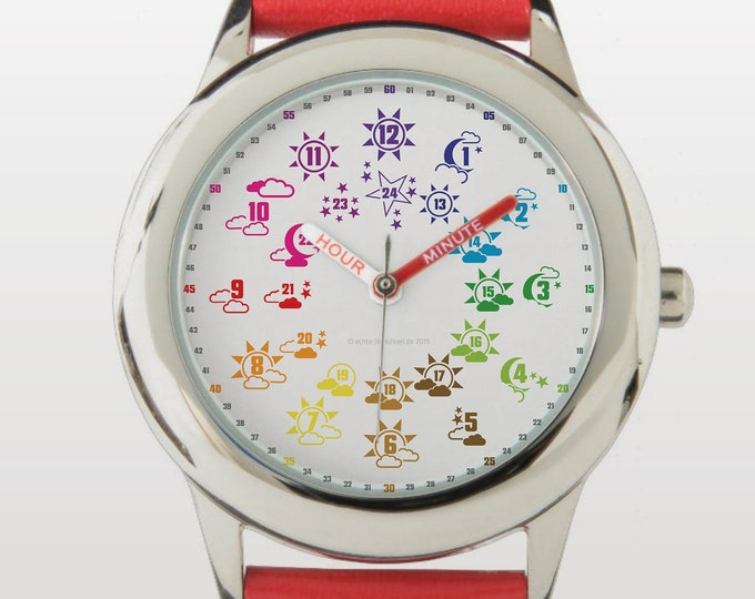 Armbanduhr EasyRead Lernuhr inkl. Download Tagesplaner, Übungsblatt, Basteluhr für Kinder ab 4 Jahren   Tag-Nacht Weihnachtsgeschenk