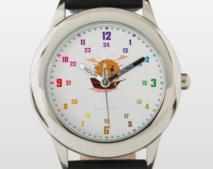 Armbanduhr EasyRead Lernuhr inkl. Download Tagesplaner, Übungsblatt, Basteluhr für Kinder ab 4 Jahren   Piratenschiff Weihnachtsgeschenk
