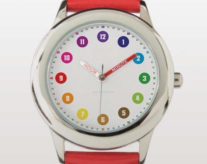 Featured listing image: Armbanduhr EasyRead Lernuhr inkl. Download Tagesplaner, Übungsblatt, Basteluhr für Kinder ab 4 Jahren | Regenbogenziffern Neujahrsgeschenk