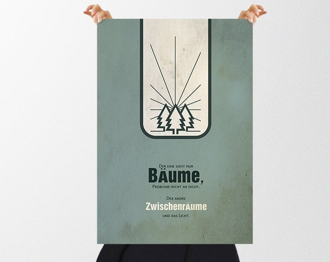 Vintage Poster Trees Contrasts - a Christmas gift for optimists, pessimists, heart people, girlfriend, partner