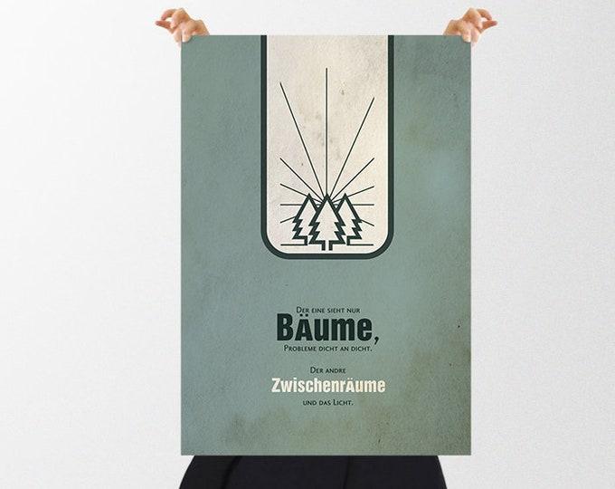 Vintage Poster Bäume Kontraste - ein Weihnachtsgeschenk für Optimisten, Pessimisten, Herzensmenschen, Freundin, Partner Weihnachtsgeschenk