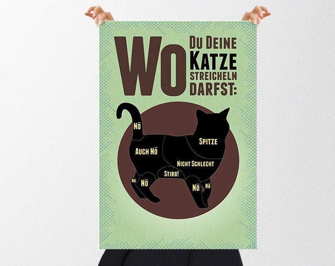 """Retro Poster """"Where You Can Pet Your Cat"""" / """"Dangerzones of a cat"""" as a gift for Mother's Day"""