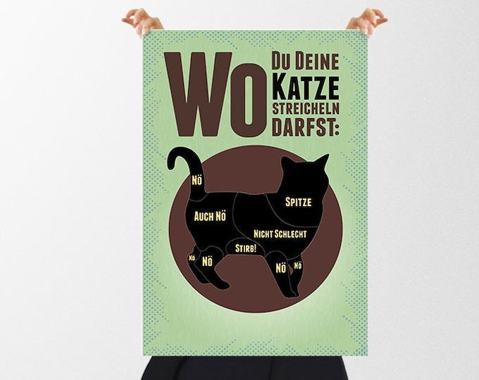 """Retro Poster """"Wo Du Deine Katze streicheln darfst"""" / """"Dangerzones of a cat"""" als  zum  Weihnachtsgeschenk"""
