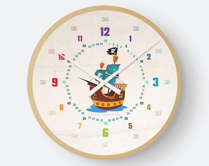 Lernuhrsytem als geräuschlose Wanduhr für Kinder inkl. Bastelbogen, Tagesplaner und mehr| Regenbogenziffern Piratenschiff