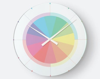 Wall clock design clock study clock rainbow color Colorful Minimalist without digit display