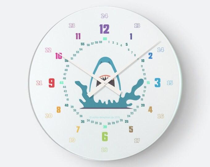 Lernuhrsytem als geräuschlose Wanduhr für Kinder inkl. Bastelbogen, Tagesplaner und Übungsblättern   Hai   Schulanfang