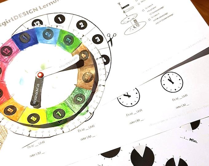 Bastelbogen: ZEIT LERNEN - Tagesplanung mit Kind - Arbeitsblätter Lernuhr-Bastelbogen, Übungsblätter