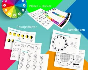 Download: ZEIT LERNEN - Tagesplanung mit Kind - Arbeitsblätter Lernuhr-Bastelbogen, Übungsblätter