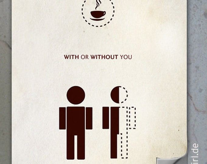 """Vintage Poster """"Coffee Love"""" - a funny Christmas gift for coffee junkies, parents, heart people, girlfriend, partner"""