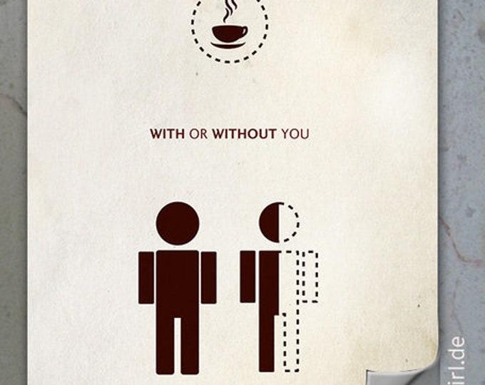 """Vintage Poster """"Kaffeeliebe"""" - ein witziges Weihnachtsgeschenk für Kaffeejunkies, Eltern, Herzensmenschen, Freundin, Partner"""