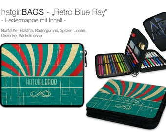 "Feather folder ""Retro Blue Ray"" in retro style, vintage style, filled (suitable from 1st class)"