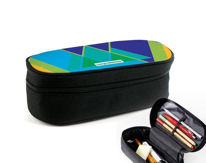 Colourful Pattern Geometry Hexagon case with zipper as rampad, makeup case or eyeglass case Christmas gift