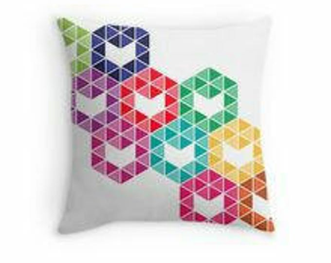 Colourful Hexagon © hatgirl.de |  Living room cushion with cover as a noble gift for Mother's Day or to move / to the new apartment