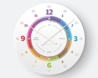 Lernuhrsystem als geräuschlose Wanduhr für Kinder inkl. Bastelbogen, Kalender und mehr| Regenbogenziffern Ostdeutsch Weihnachtsgeschenk