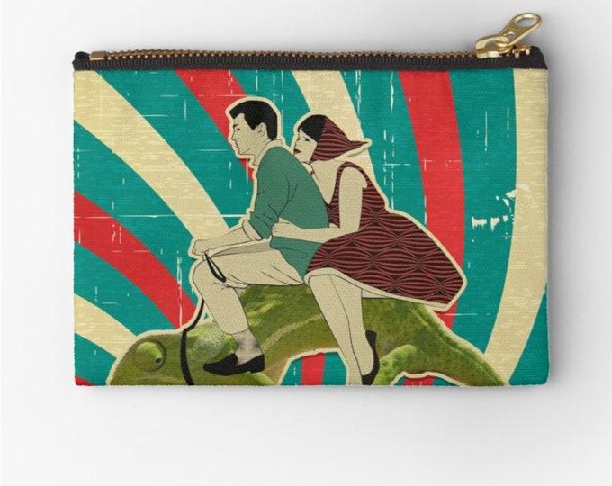 Case Vintage Chameleon Riders © hatgirl.de Make-up Bag Sloppy Pencil Folder Ramschmappe School Beginning