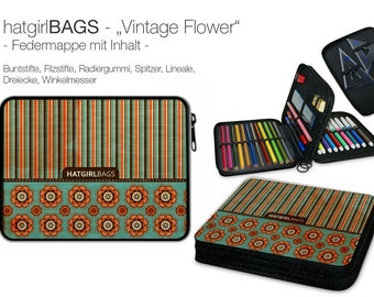 "Feather folder ""Vintage"" versch. Retro-style colours, vintage style, filled (suitable from 1st class)"