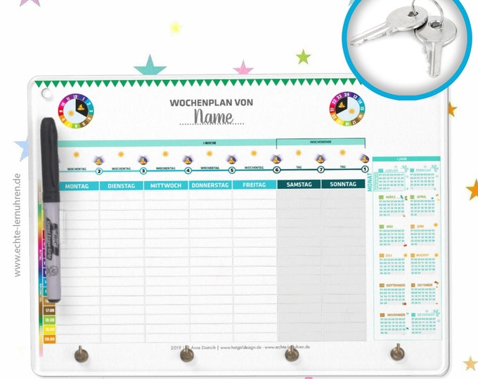 Dry extinguishing board with keyboard function as weekly planner for the learning clock