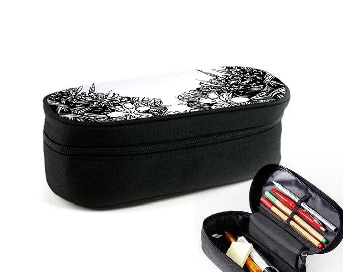 Floral Black Case with Zipper as Ramschfolder, Makeup Case or Eyewear Case Christmas Gift