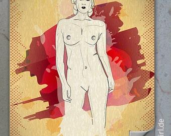 """Vintage Retro Poster """"Natural Woman"""" FRONT KURVENreich als Geschenk zum Muttertag"""