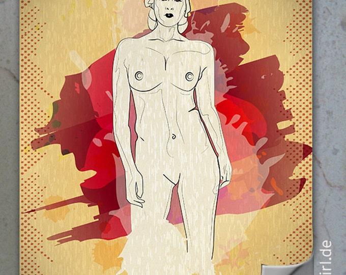 """Vintage Retro Poster """"Natural Woman"""" FRONT KURVENreich als  zum  Weihnachtsgeschenk"""