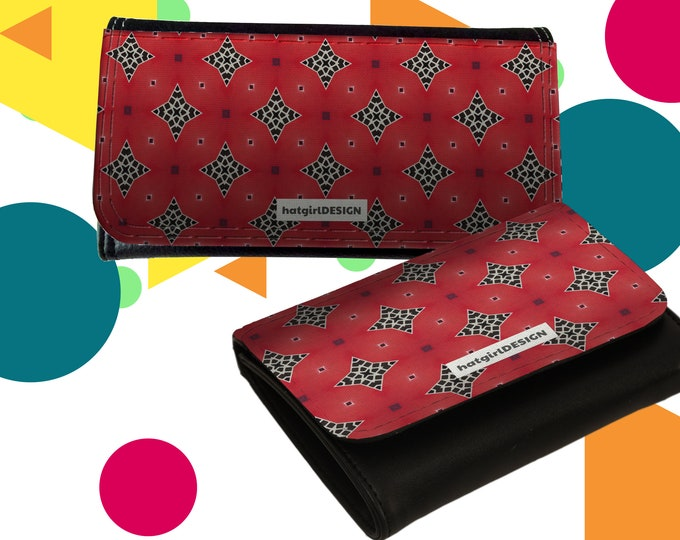 "Wallet Leather Exchange Women's Leather Exchange o. Small Stock Exchange ""Pink Black Raute-Pattern"""