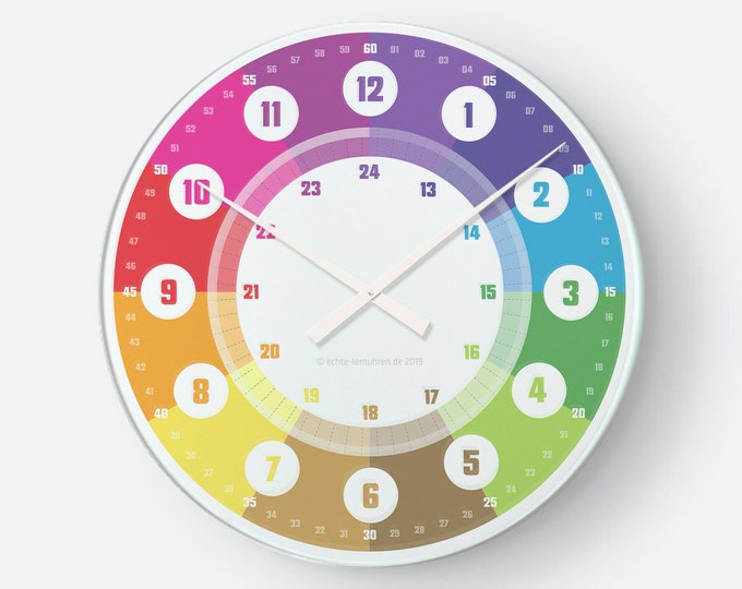 Learning clock with system as wall clock for children from 5 years | for preschool or back to school