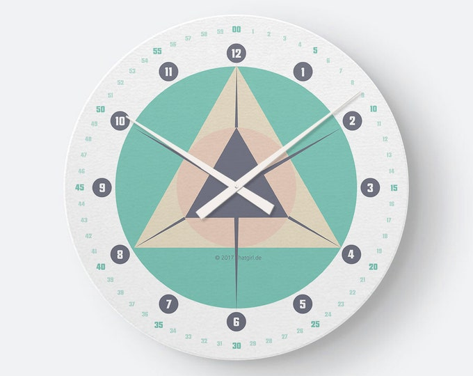 RetroDesign watch geometry turquoise light petrol from hatgirlDESIGN as noble to new apartment/move or Christmas gift