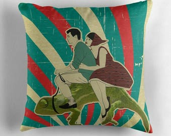 Vintage Vespa Riders © hatgirl.de |  Living room cushion with cover as a noble gift for Mother's Day or to move / to the new apartment