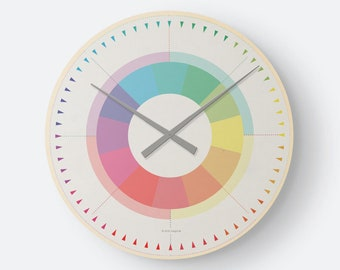 Wall Clock Wood Clock - Rainbow Color Colorful Minimalist as a noble gift for new apartment/ Moving or Mother's Day