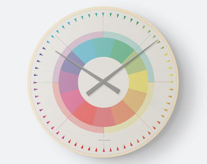 Wall clock wooden clock - rainbow color colorful minimalist as noble to the new apartment/ moving or Christmas gift