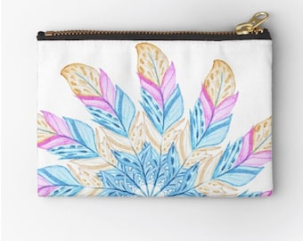 Case Watercoloured Feather © hatgirl.de make-up bag Sloppy pencil folder Ramschmappe School beginning Christmas gift