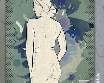 """Vintage Retro Poster """"Natural Woman"""" Back KURVENreich - ein edles Weihnachtsgeschenk für Männer, Freundin, Partner"""