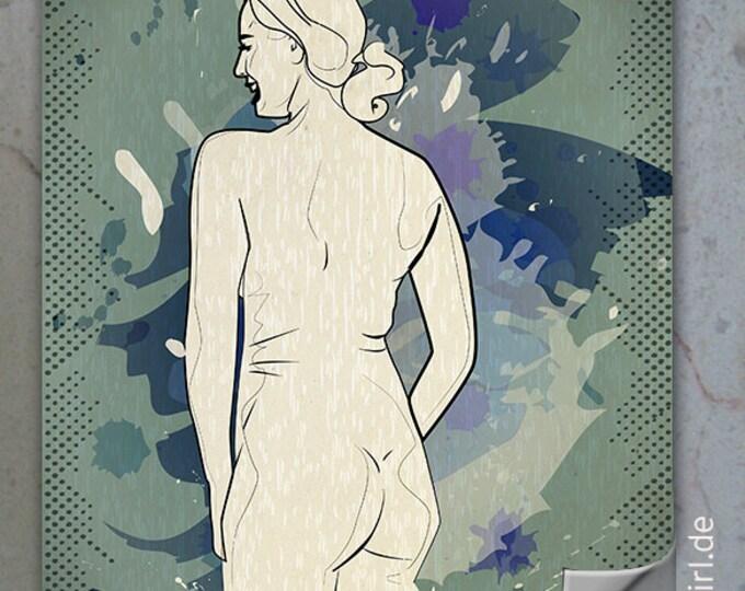 """Vintage Retro Poster """"Natural Woman"""" Back KURVENreich - ein edles Weihnachtsgeschenk für Männer, Freundin, Partner Weihnachtsgeschenk"""