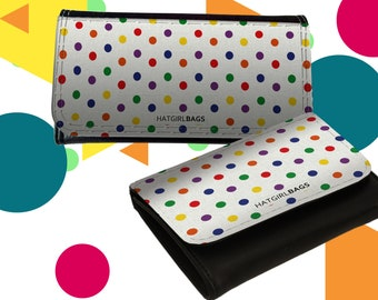"""Wallet Leather Exchange or Women's Leather Exchange """"Colourful Polkadots"""" Mother's Day Gift Gift for Mother's Day"""