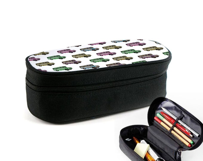 Colourful Pattern school bus bus case with zipper as ramboard, makeup case or glasses case Christmas gift