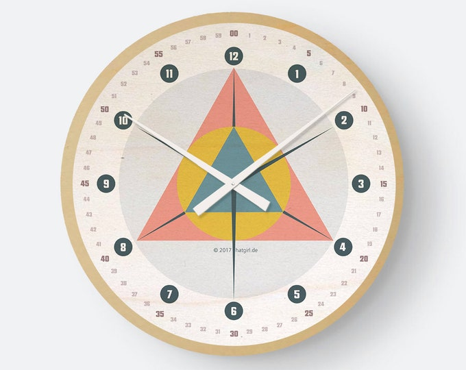 Wooden clock geometry as noble to the new apartment/move or Christmas gift