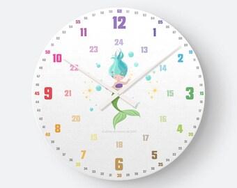 Lernuhrsytem als geräuschlose Wanduhr für Kinder inkl. Bastelbogen, Tagesplaner und Übungsblättern | Regenbogenziffern Meerjungfrau