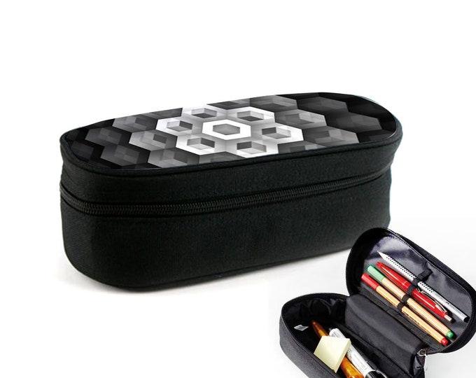 Neutral Pattern Black Hexagon Flower | Etui mit Reißverschluss als Ramschmappe, Make-Up-Case oder Brillenetui Weihnachtsgeschenk