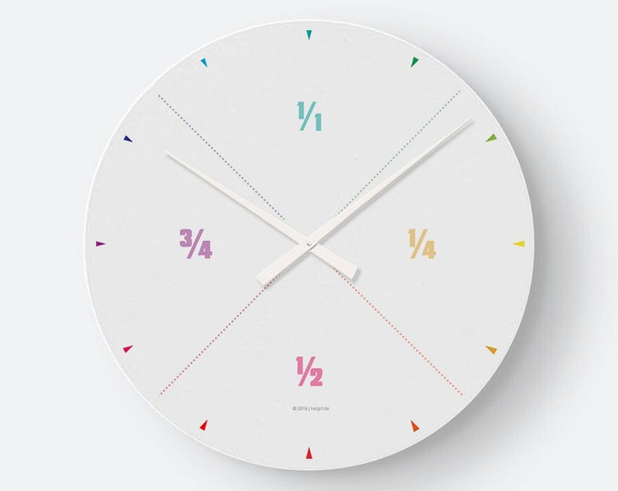 hatgirlDESIGN wall clock fractions rainbow color colorful minimalist for study, reception room, design office, living room, practice