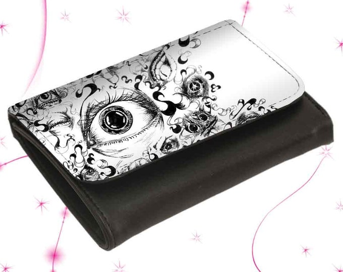 """Wallet Leather Purse """"Eyes"""" Mother's Day Gift Gift for Mother's Day"""