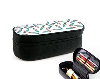 colorful feathers case with zipper as junk folder, makeup case or glasses case Christmas gift