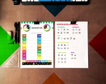 Tagesplaner Poster + Aufkleber Kindergarten für mehr Ordnung und Struktur im Leben mit Deinem Kindergarten-/Schul-Kind